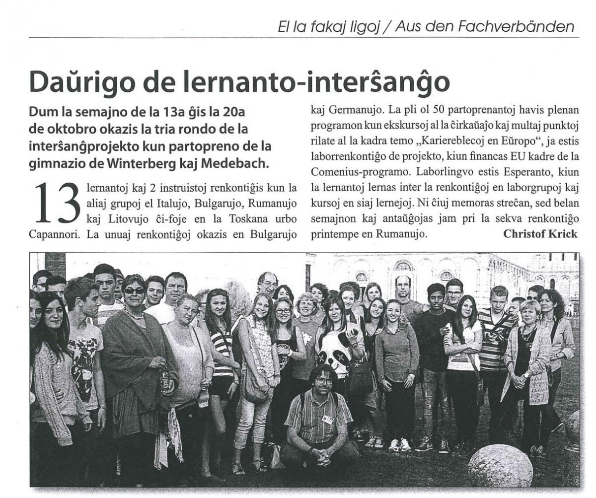 """Aus der Zeitschrift """"Esperanto Aktuell"""" (Ausgabe 1/2014)"""